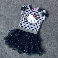 4 6 8 10 Years Girls Summer Hello Kitty Dress Cotton Kids Tutu Dress For Summer