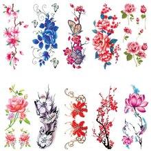 3D Cherry Blossoms Rose Big Flowers Sex Waterproof Temporary Tattoos Women Flash Tattoo Arm Shoulder Stickers