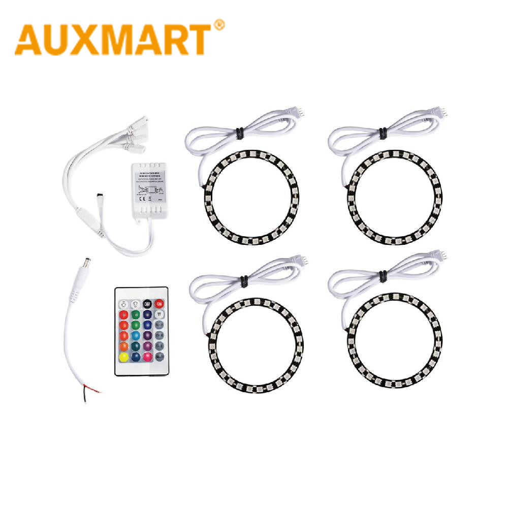 Auxmart 4X 90MM 5050SMD Multi Color RGB LED Angel Eyes 12V For BMW Kia Toyota Halo Ring Kit Headlights