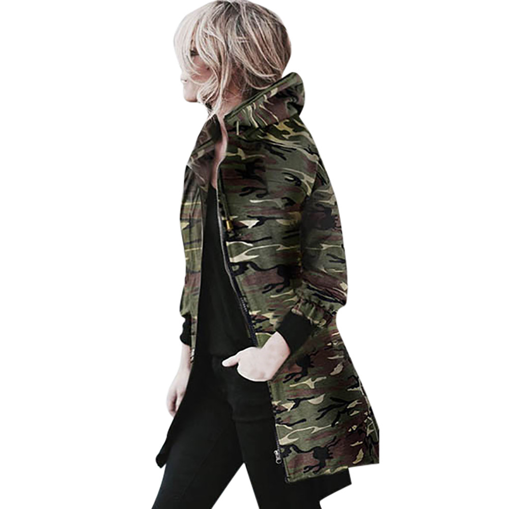 New Fashion Autumn Winter Women   Parkas   Hooded Zipper Long Sleeve Coat Jacket Windbreaker Camouflage Outwear Female Coats