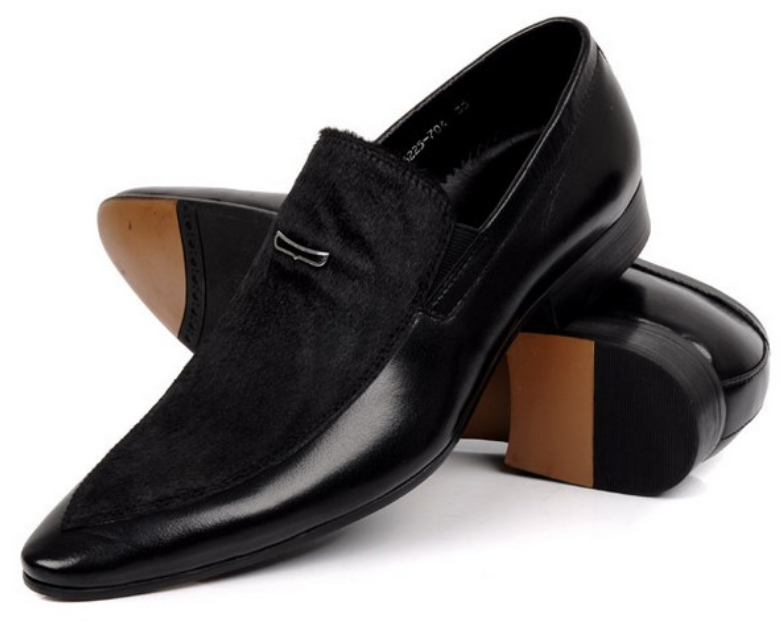 Large size EUR45 horsehair suede black pointed toe font b mens b font wedding font b