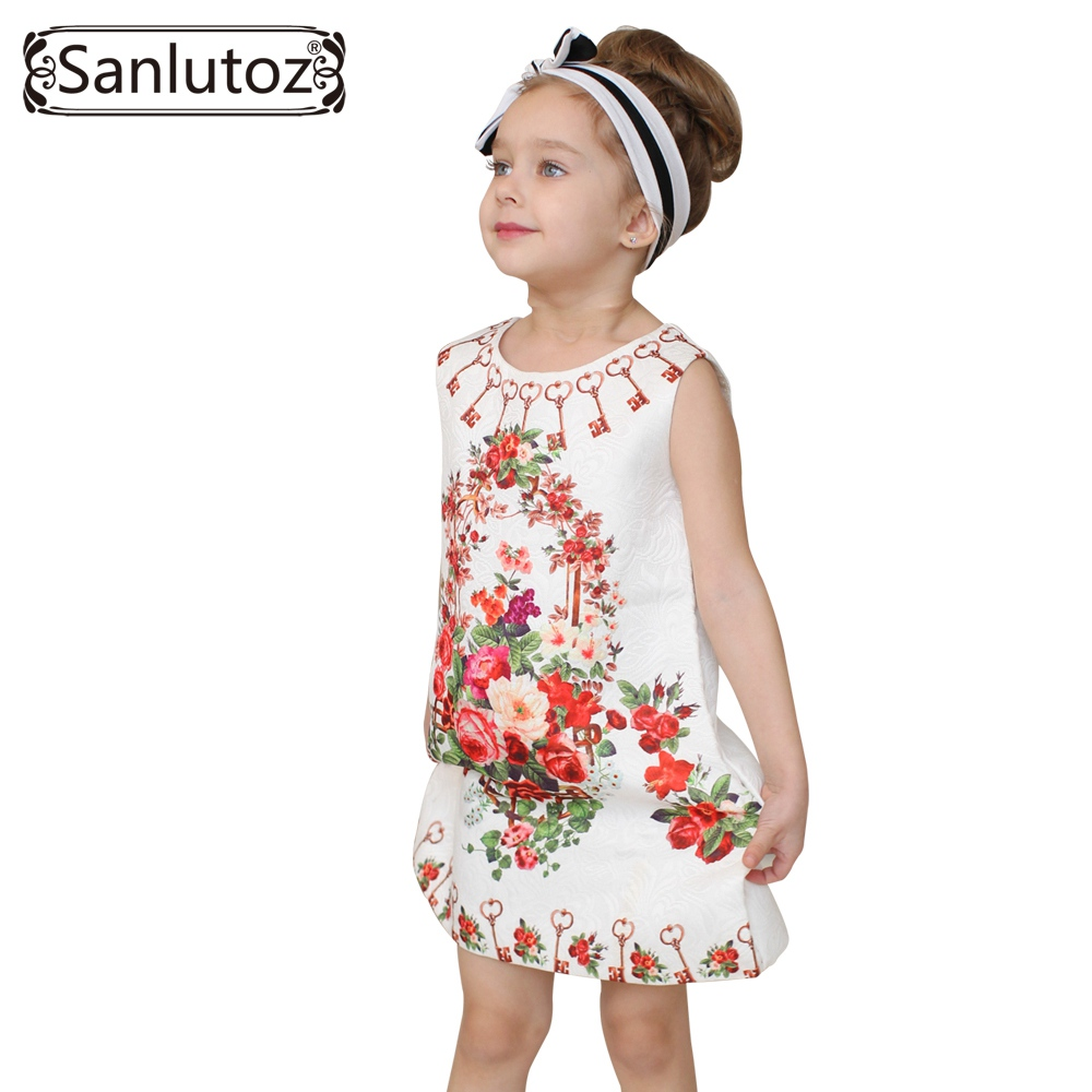 Sanlutoz Girl Dress Flower Kids Clothes 2016 Children Clothing Brand Girls Clothes for Party Holiday Toddler gril flower dress multi storey white clothes stage girl performance children show clothes for dance with a pair of glove