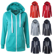 Autumn Winter Classic Women Hoodies Overcoat Zipper Sweatshirts Hoody Jacket Womens Coat Pockets Outerwear red Dropshopping