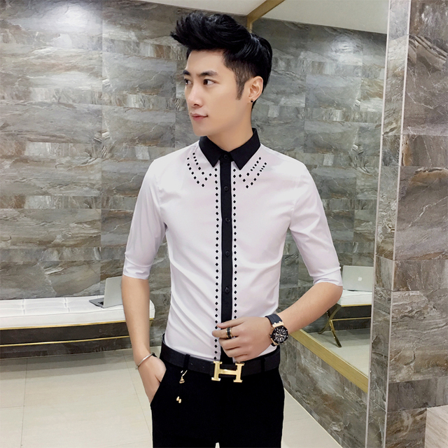2017 Summer Shirts Mens Broque Camisa Xadrez Masculina Black And White Slim  Fit Night Club Outfits Casual Shirts Mens Social Hot e5734625831d2
