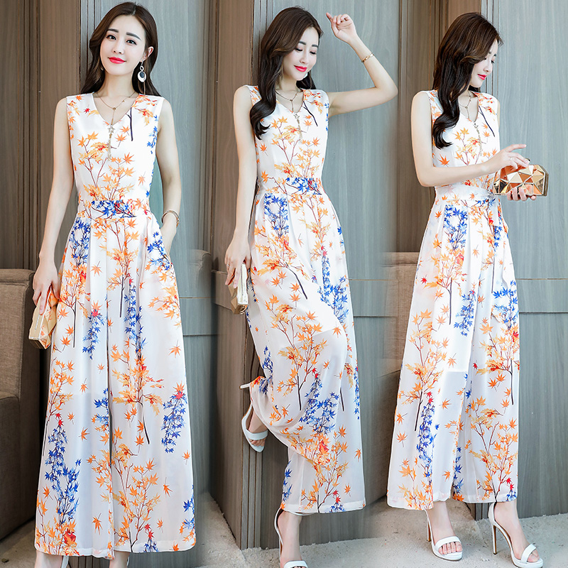2019 Newest Fashion Lady Women Playsuit floral chiffon Jumpsuit Romper Sleeveless V neck plus size Long wide leg Trousers-in Women's Sets from Women's Clothing    1