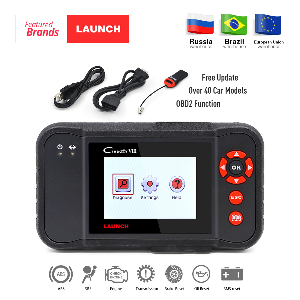 LAUNCH X431 obd2 code reader Scanner Creader VIII 8 Auto diagnostic Tool for ENG/ABS/SRS/AT+Oil/EPB/SAS reset pk CRP129 NT614 obd2 scanner launch creader 8001 car code reader full obdii eobd auto diagnostic scanner tool with abs srs epb oil service