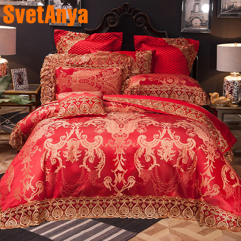 Svetanya Collection Lace Bedding Sets Queen King Size Artificial Silk Cotton Fabric Jacquard Pattern Duvet Cover set RedSvetanya Collection Lace Bedding Sets Queen King Size Artificial Silk Cotton Fabric Jacquard Pattern Duvet Cover set Red