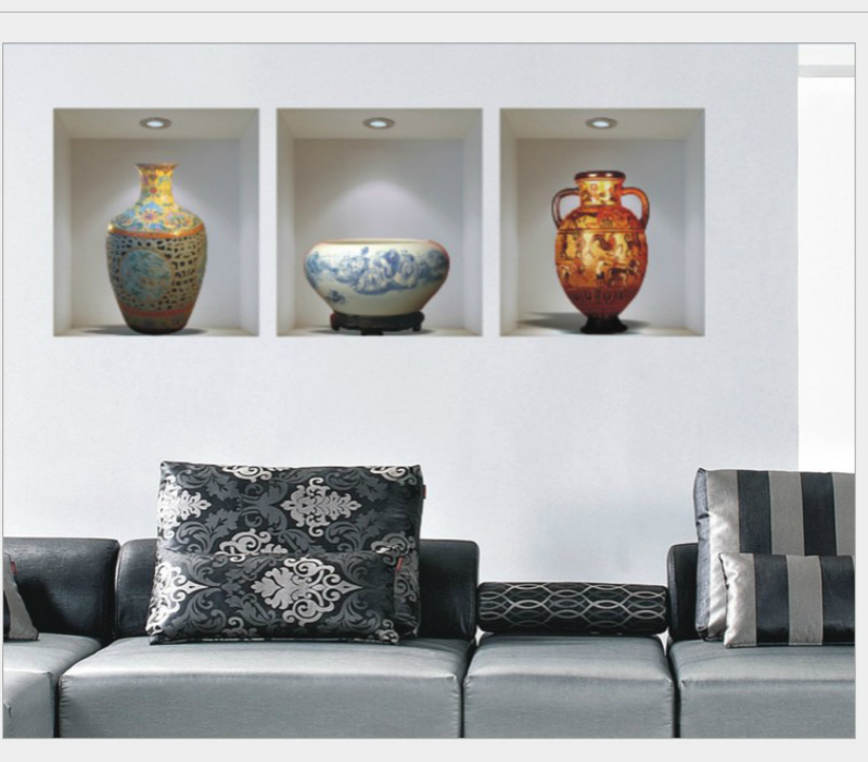 Living Room 3d Wall Art: 3D Wall Stickers Home Decor Ceramic Vase Wallpaper For
