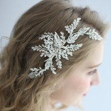 Antique Silver Bridal Headpiece Handmade Rhinestone Leaf Crystal Wedding Hair Clips Vine Brides Aornament Fashion Jewelry