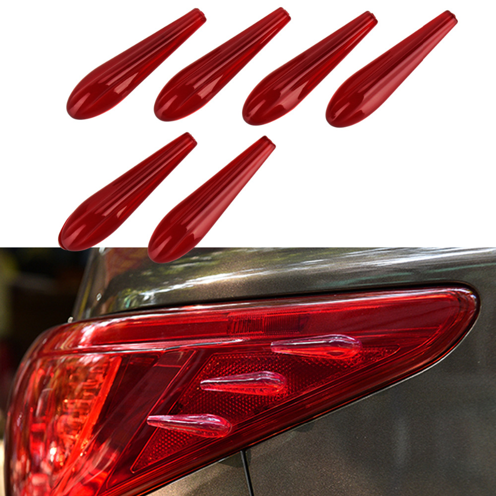 Red Universal Rubber Car taillight 3D Sticker Decorate Airflow Sticker Easy Install For <font><b>Audi</b></font> A3 <font><b>A6</b></font> A1 A2 Free shipping image