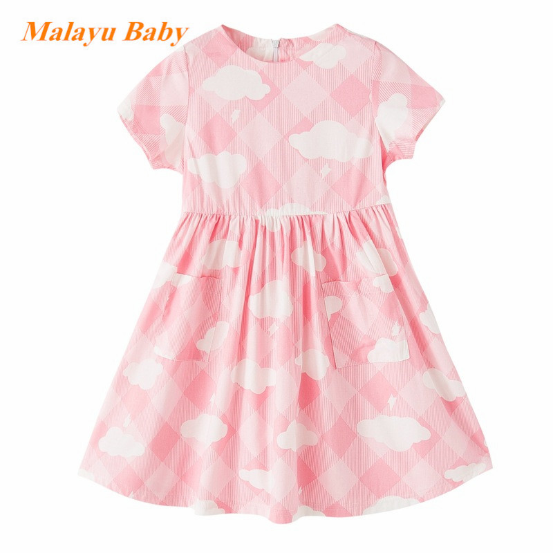 2017 Europe and the United States new summer girl dress grid clouds cotton girl dress dress pockets Princess children's clothing led zeppelin led zeppelin iv deluxe edition 2 lp