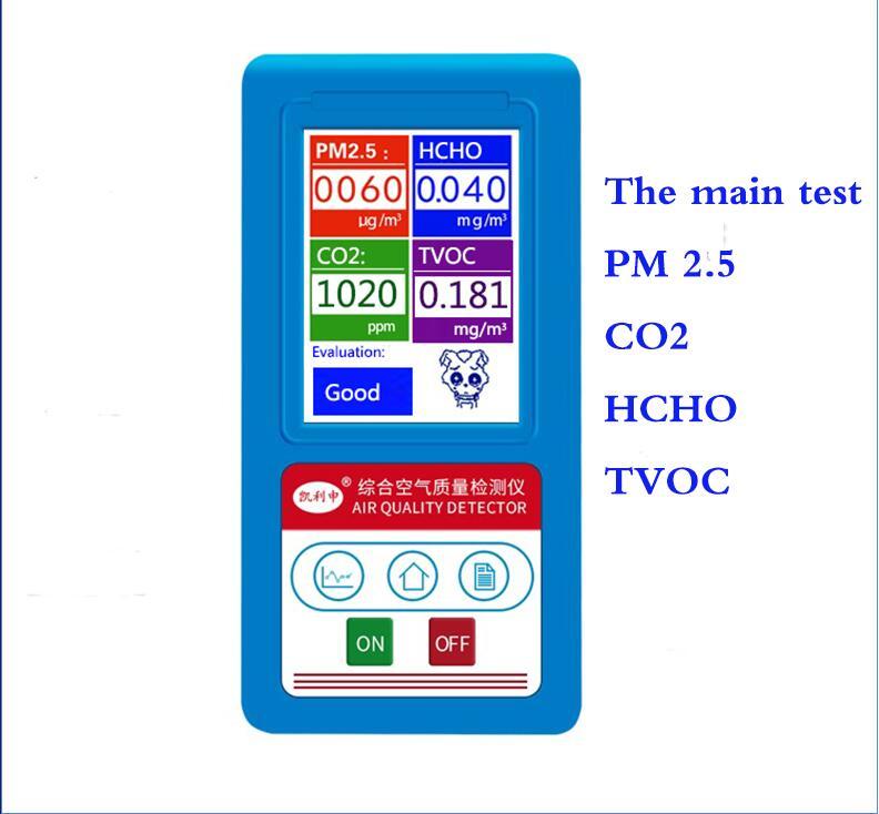 Anglais menu Analyseur De Gaz Formaldéhyde CO2 Dioxyde De PM1.0 PM2.5 PM10 HCHO COVT Détecteur de Particules Moniteur Analyseur De Qualité De L'air