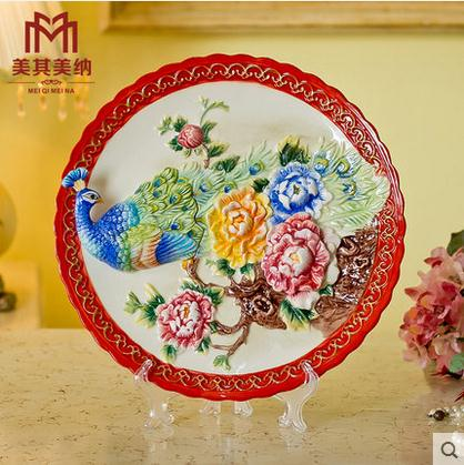 Peacock wedding gifts decorative wall dishes porcelain decorative peacock wedding gifts decorative wall dishes porcelain decorative plates vintage home decor crafts room decoration figurine junglespirit Choice Image