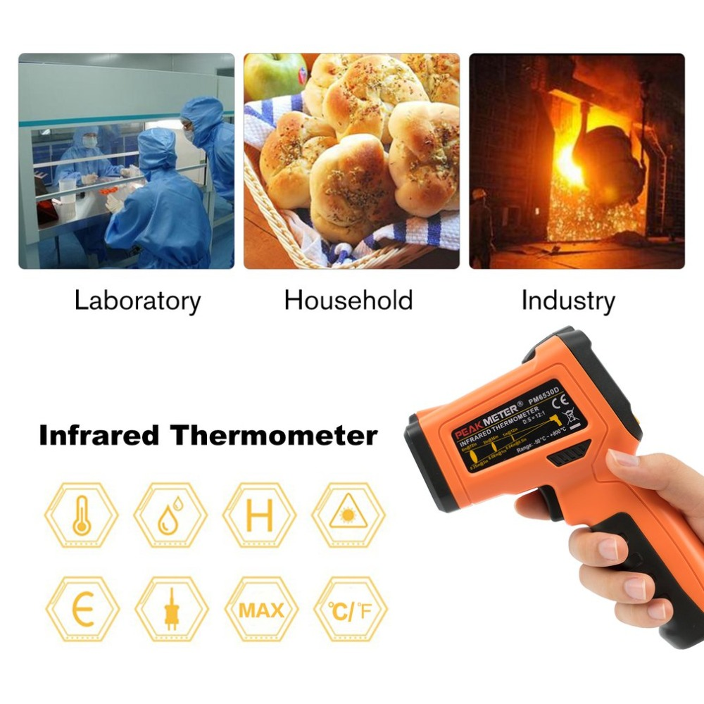 PEAKMETER PM6530D Digital Infrared Red Laser Non Contact Humidity Temperature Meter LCD Hygrometer Thermocouple Thermometer