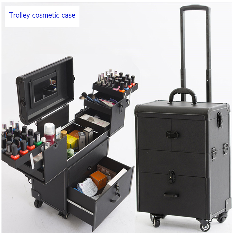Trolley Cosmetic Case Luggage Profession Suitcase For Makeup Trolley Box Nails Beauty Woman Luggage Travel Cosmetic Bag Wheels