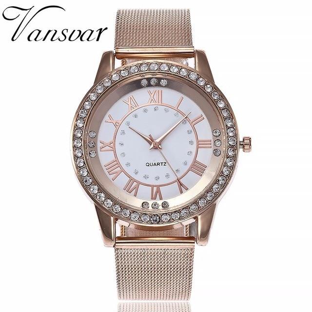 Vansvar Brand Women Rose Gold & Silver Mesh Wristwatches Fashion Casual Women Rh