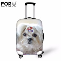 FORUDESIGNS Cute Pet Dog Terrier Prints Luggage Protective Cover Waterproof Anti Dust Rain Cover For 18