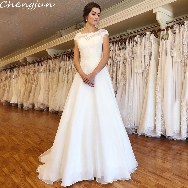 Chengjun Sweep Train Cap Sleeve Pure White A-Line Elegant Wedding Dresses