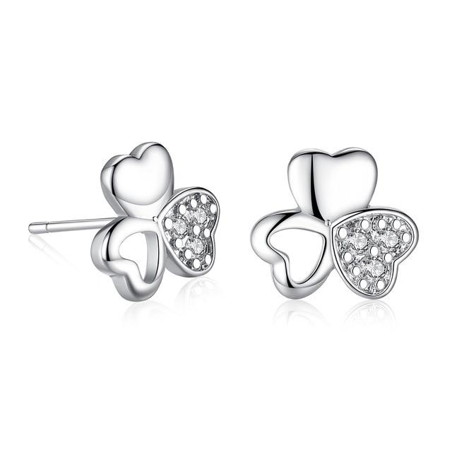 Clover Heart Shaped Earrings Full Zircon Flowers Free Shipping