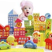 도시 장면 어린이 빌딩 블록 나무 아기 교육 게임 diy 블록