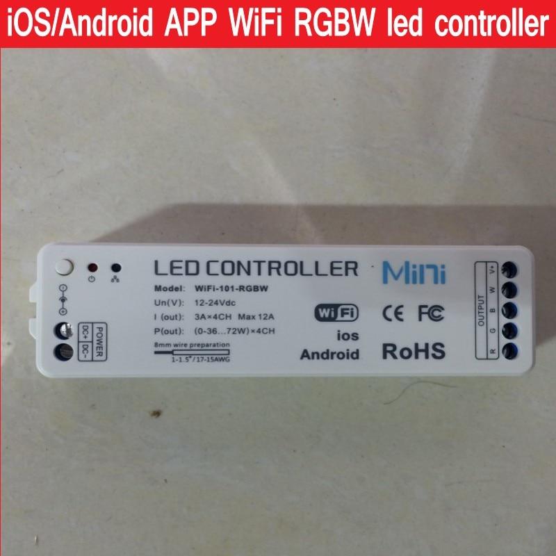Novo 2016 iOS Android APP WiFi RGBW led controlador Sem Fio 2.4G Para rgbw  luzes led strip DC12-24V Frete grátis 2dddacf817f3f
