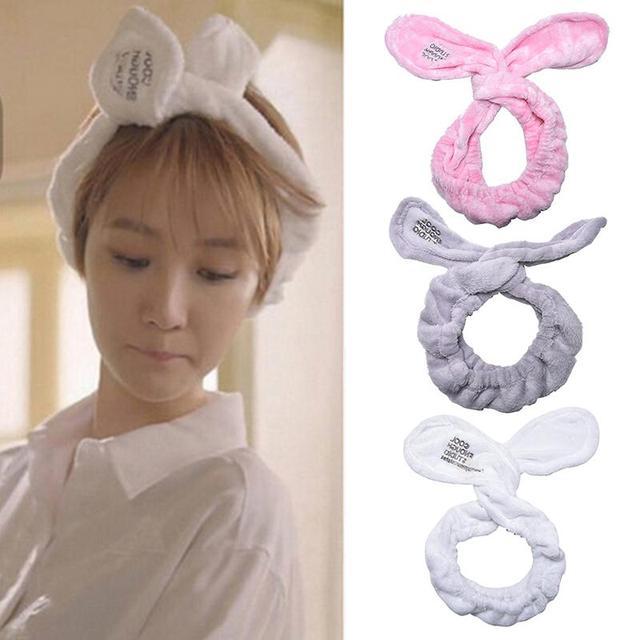 Şapkalar Büyük Tavşan Kulak Yumuşak Havlu saç bandı Wrap Kafa Bandı Banyo Spa Makyaj Kadın Kızlar