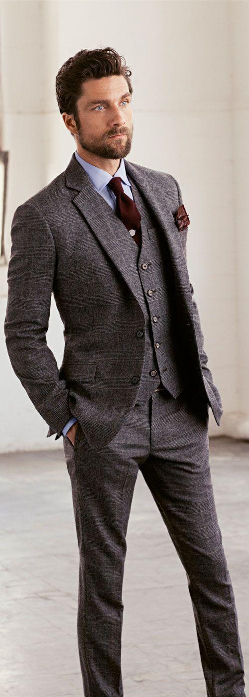 Mittatilaus valmistettu harmaa Tweed-ruudullinen puku miehille / ohut - Miesten vaatteet