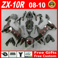 Free custom Fairings fit for Kawasaki Ninja ZX 10R 08 09 10 black red flames ZX10R 2008 2009 2010 ZX10R fairing kits 7 gift CH02