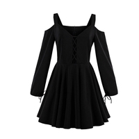 Women Sexy Black Dress Cold Shoulder Hollow Out Long Sleeve Dresses Autumn Gothic Lace Up Mini
