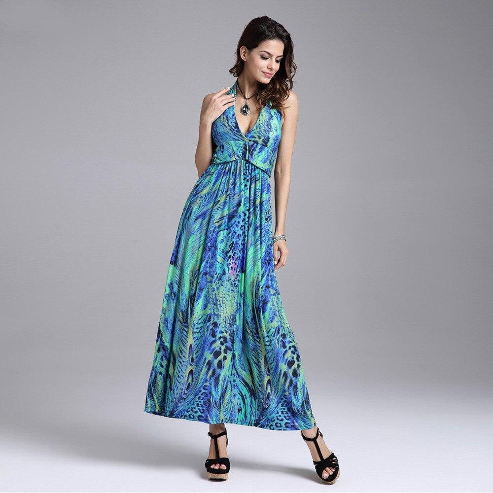 19e9c8f3b6c Milk Silk Chiffon Dresses Slim Waist Halter V-neck Peacock Printing  Colorful Bohemia Sleeveless Long Beach Dress Colorful