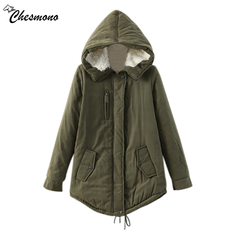 chesmono New 2017 Winter Jacket Women loose hooded Fur Collar Thick Loose size Coat outwear warm Thick Parkas Army Green/black chesmono new 2017 winter jacket women loose hooded fur collar thick loose size coat outwear warm thick parkas army green black