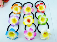 50 New 9 colours  Foam Hawaiian Plumeria flower Frangipani Flower bridal hair bands elastic 4.5cm