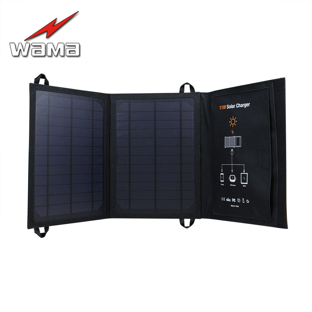 1x Wama 11W Solar Panels Battery Charger for Mobile Phone 18650 Batteries Power Bank USB Outdoors Waterproof Foldable Camouflage1x Wama 11W Solar Panels Battery Charger for Mobile Phone 18650 Batteries Power Bank USB Outdoors Waterproof Foldable Camouflage