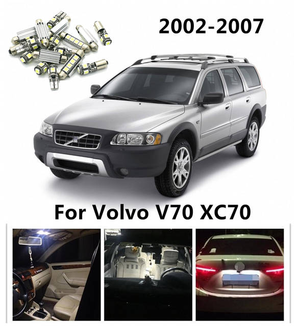 CIRCULAR 14pcs Error Free White Car LED Bulbs Interior Package Kit For  Volvo V70 XC70 2002-2007 Dome License plate light Map