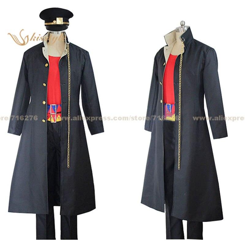 Kisstyle 패션 조조의 기묘한 모험 Jotaro Kujo 긴 제복 코스프레 복장 코스 의상, 맞춤 허용됨