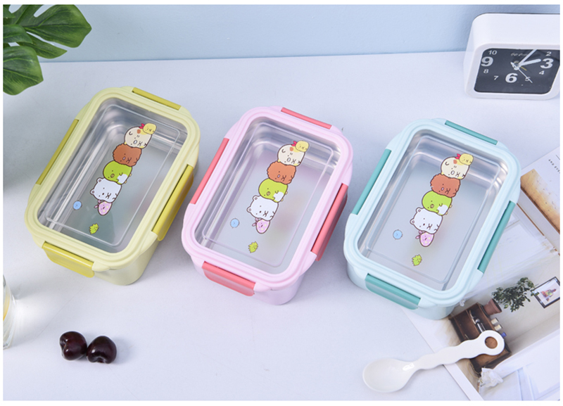 Pencil Box - Portable Stainless Steel Lunch Box Double Layer Cartoon Food Container Box Microwave Bento Box for Kids Children Picnic School