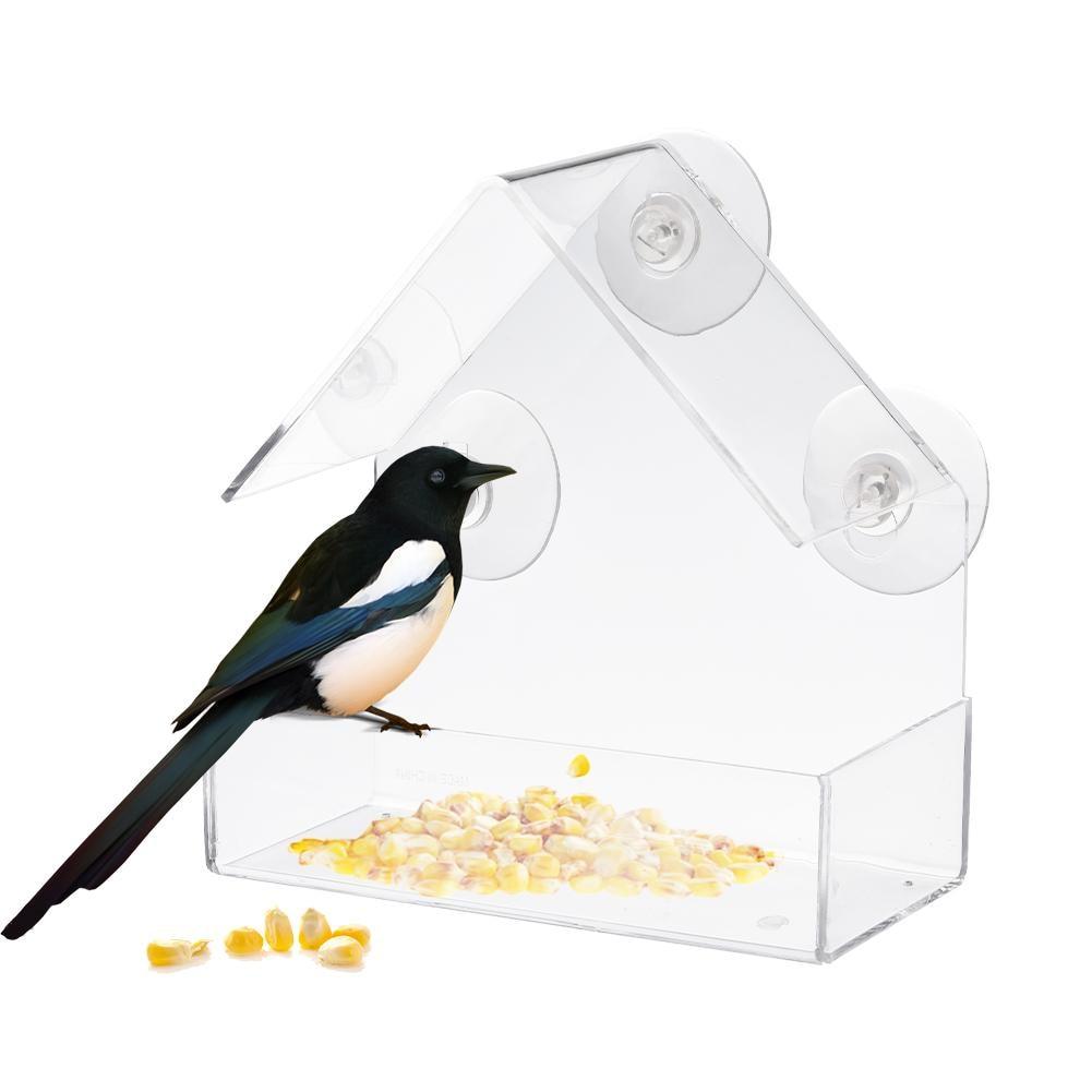 Wholesale Transparent Acrylic Adsorption Type House Shape Bird Feeder Innovative Suction Cup Bird Feeders Dispenser
