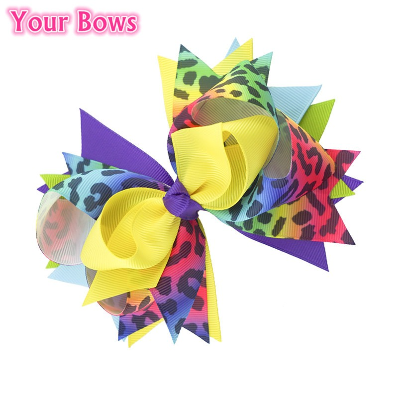 Your Bows 1PC 5.5 Inch Rainbow Leopard Girls Hair Bows Polyester Bows - Accesorios para la ropa - foto 4