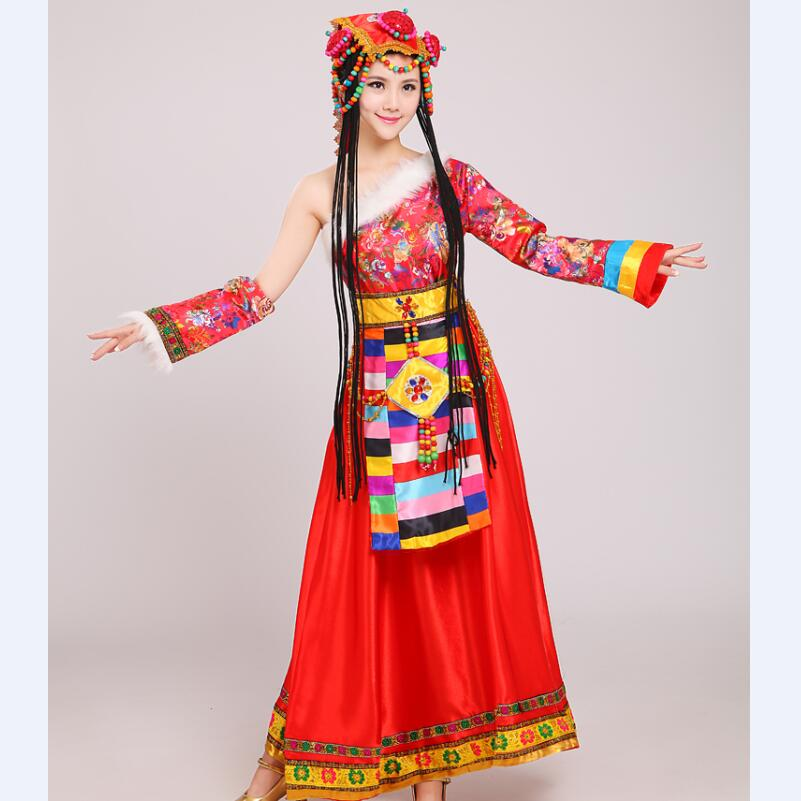 Chinese traditional national dress Mongolian Dance performance Clothing female costume Chinese dance costumes in Chinese Folk Dance from Novelty Special Use