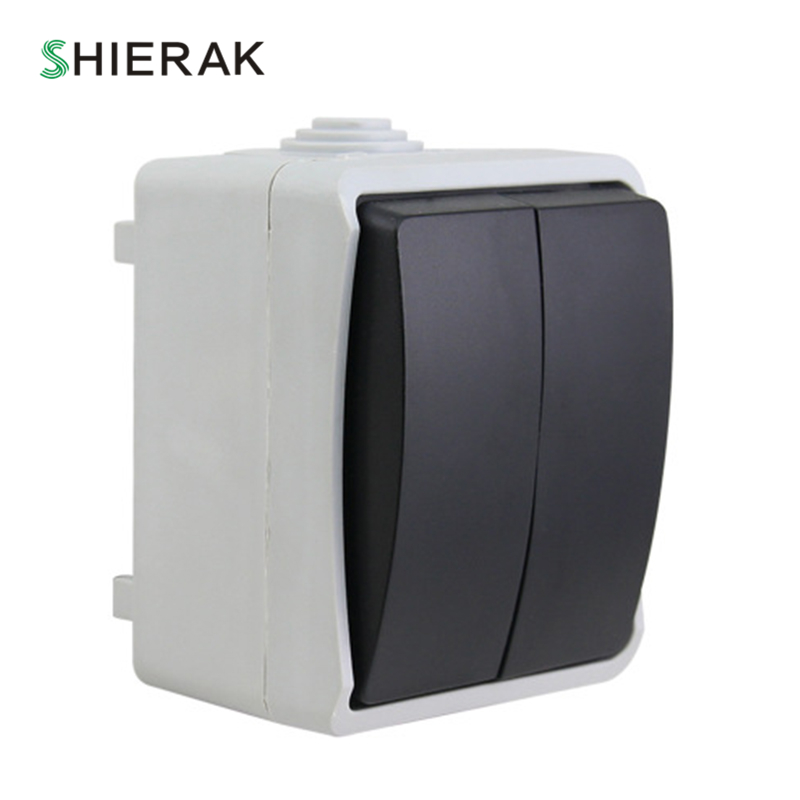 SHIERAK Outdoor IP44 Waterproof Dust-proof Wall Switch 2 Gang 1 Way Push Button Switch For Kitchen Bathroom SHIERAK Outdoor IP44 Waterproof Dust-proof Wall Switch 2 Gang 1 Way Push Button Switch For Kitchen Bathroom
