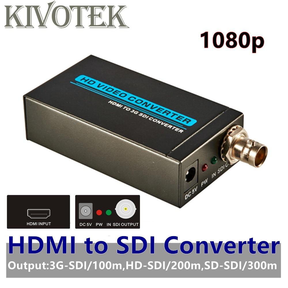 KIVOTEK 3G 1080 P HDMI vers SDI SD-SDI HD-SDI 3G-SDI HD convertisseur d'adaptateur vidéo avec connecteur femelle BNC, Extension d'alimentation Adatper S
