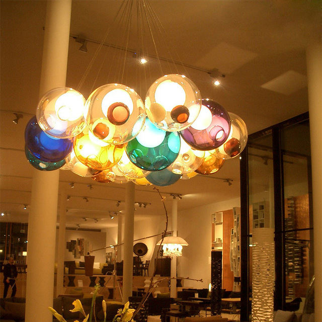 Postmodern Loft Multicolor Glass Chandelier Creative Ball Bedroom Dinner Duplex Apartment Hotel Hall Led Hanging Light Fixtures