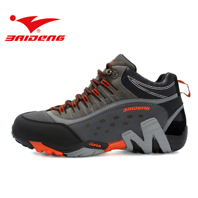 Baideng Waterproof Leather Men font b Hiking b font shoes High Quality Trekking font b Boots