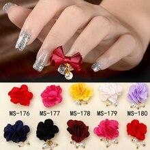 12 Colors Fashion Cloth Pearl Rose Flower Bowknot Design Nails Nail Art Manicure 3D Decoration DIY Tool Makeup Accessories