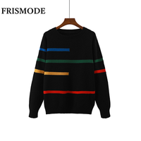 2019 Autumn Winter Knitted Sweater White Black Red Ginger O neck Long Sleeve Pullover Sweater Women Casual Stripes Sweaters