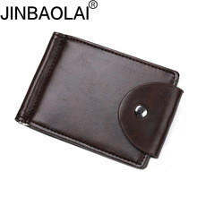 Original Brand JINBAOLAI Vintage Stainless Steel Money Clip High Quality PU Hasp Mens Clip Wallet