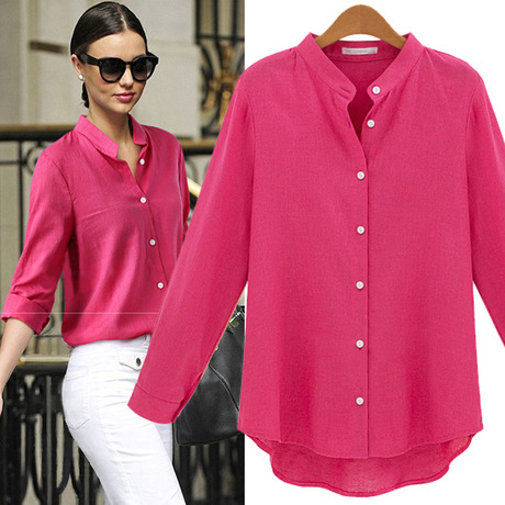 Womens Tops Fashion 2015 Autumn New Cotton And Linen Women Shirts ...