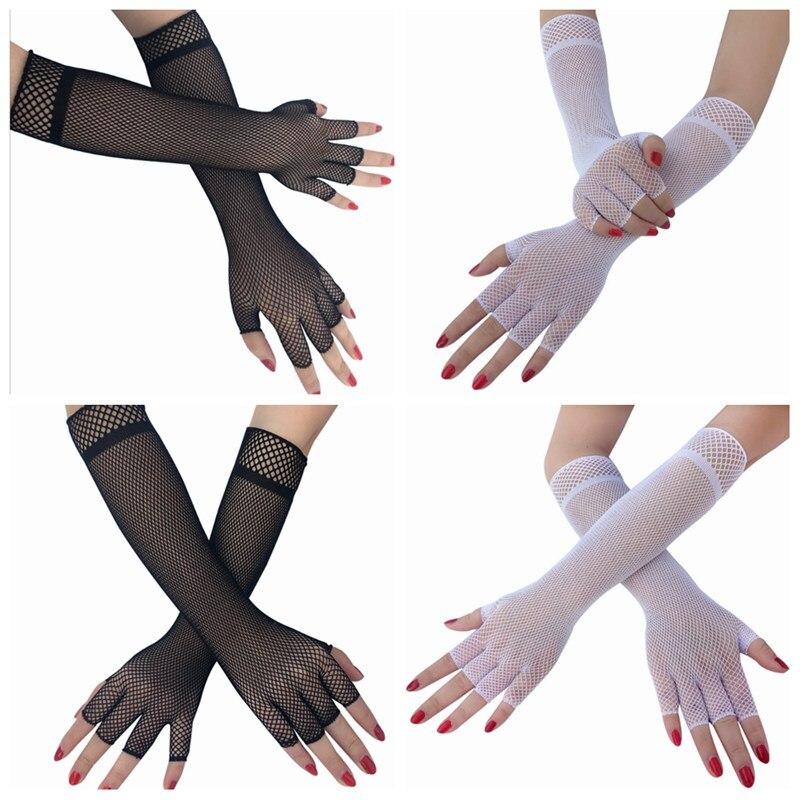 1 Pair Hot Women Sexy Gloves Long Elbow Half Finger Fishnet Hollow Mesh Fingerless Punk Bride Gloves Fashion CWW9193