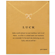 Simple Gold Color Bowknot Necklace Women Minimalist Pendant Clavicle Chain Statement Choker Necklaces Luck Gift Card mothers day