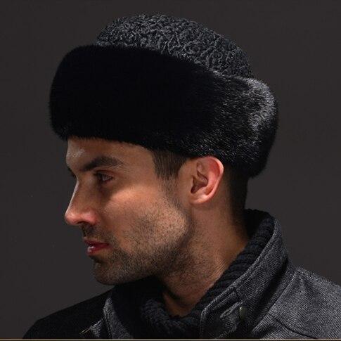 Hm037 настоящее подлинная норки с шерстью шляпу зима российских мужская теплые шапки вс-piece норки овец меховые шапки